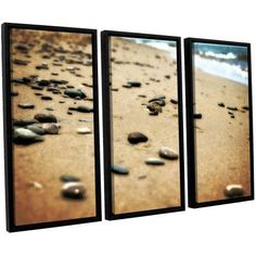 ArtWall Kevin Calkins Pebbles and Waves 3-Piece Floater Framed Canvas Set, Size: 24 x 36, Blue