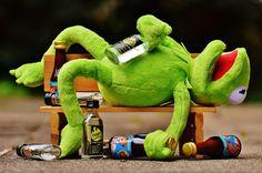 Кермит, Лягушка, Пить, Алкоголь, Пьяный, Банк, Отдых