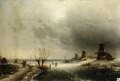 Charles Leickert - Winterliche Flußlandschaft mit Windmühlen und Figurenstaffage