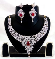 CUBIC ZIRCONIA NECKLACE SET - BOLLYWOOD STYLE BRIDAL CZ JEWELLERY - INDIAN AMERICAN DIAMOND JEWELLERY - For Wholesale Visit@ www.indianethnicjewelry.com