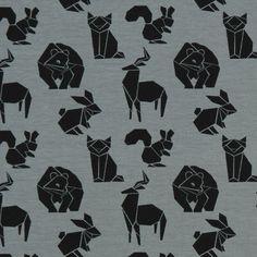 Tela de Jersey Animales de origami – azul gris - Telas de jersey- telas.es