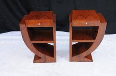 Classy pair of art deco style nightstands in rosewood
