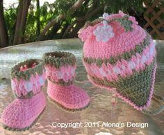 Crochet Baby Booties & Hat – Free Crochet Pattern by lorna.wiebegiesbrecht