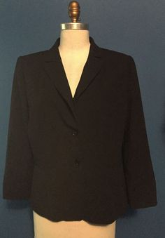 2d9b850a5df994 By TAHARI this beautiful rayon and smooth wool three button jacket is a  size L or 14 ----bust shoulders sleeves and overall length Excellent  condition (no ...