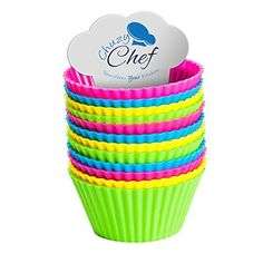 Reusable Silicone NonStick Baking Cups Assorted Colors Cupcake Holder Set 24 Pieces by Chuzy Chef ** You can get additional details at the image link.