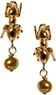Les Nereides - Ant Drop Earrings #15Things #fashion #style #trending #accessories #jewelry #LesNereides #insect #earrings #bugs #gold