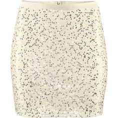 H&M Skirt (59 BRL) ❤ liked on Polyvore featuring skirts, bottoms, saias, faldas, h&m, light beige, sequin jersey, sequin skirt, beige skirt and jersey skirt