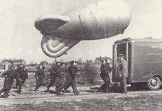 WAAF with a barrage balloon, early London Bombings, Ww2 Women, Air Force Aircraft, Air Raid, Croydon, Royal Air Force, London Street, World War Two, Wwii