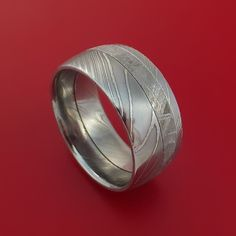 Gibeon Meteorite in Damascus Steel Wedding Band Made to any Sizing and Width - Stonebrook Jewelry  - 1