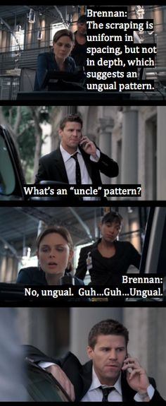 "Brennan sounding out the letter ""G"" for booth lol!"