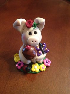 Fun In The Sun Piggie Polymer Clay PigPig by Klayfriends on Etsy, $20.00