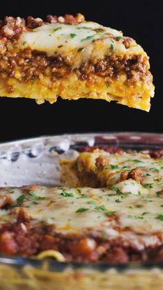 Spaghetti Pie -Transform your leftover pasta dinner into a delicious savory pie.