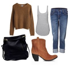 "This will be my ""go to"" outfit this fall. Fall Fashion Trends, Love Fashion, Winter Fashion, Womens Fashion, Fashion Ideas, Hot Outfits, Fall Outfits, Casual Outfits, Brown Boots Outfit"