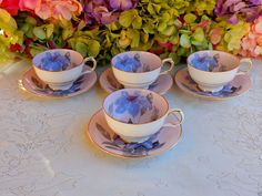 4 Vintage Clarence Porcelain Cups & Saucers Pink Blue Lilly Jeweled Enamel Gold #ClarenceBoneChina