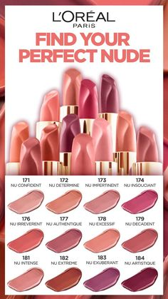 12 intense and flattering nude Lipsticks that are non-drying and smudge-proof, and keep lips feeling soft and smooth after application. Express yourself and your attitude, find your perfect nude. Beauty Skin, Beauty Makeup, Eye Makeup, Hair Makeup, Hair Beauty, Gloss Lipstick, Lipstick Shades, Lipsticks, Kiss Makeup