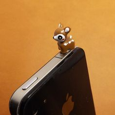 3D White Spots Brown Sika Little Deer Dust Plug 3.5mm Phone Accessories Charm Headphone Jack Earphone Cap for iPhone 4 4S 5 iPad HTC Samsung on Etsy, $2.99