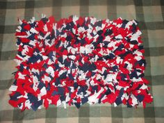 Recycled T Shirt Shag Rug Red White Blue Rectangular by melmac84