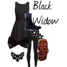 Black Widow by ava-adams123 on Polyvore featuring H&M, Solow, Style &…