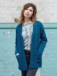 Braid - Knit this ladies long line cardigan from The Chenille Collection. A design by Sarah Hatton using Chenille, a soft yarn that is textured to the touch (cotton), this cardigan has a textured cable design, deep rib edgings and pockets.