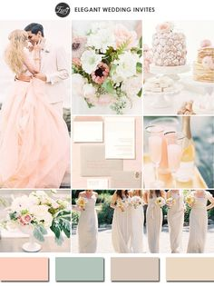 chic blush pink and nude neutral wedding color scheme ideas