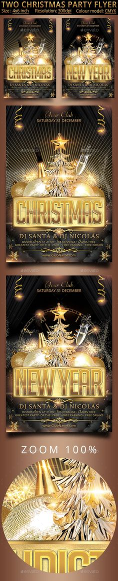 Two Christmas Party Flyer — Photoshop PSD #gold #2016 party • Available here →…