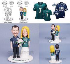 Dallas Cowboys and Philadelphia Eagles Football Wedding Cake Toppers