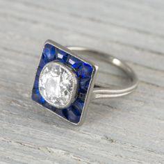 1.22 Carat Vintage Art Deco Diamond & Sapphire Engagement Ring