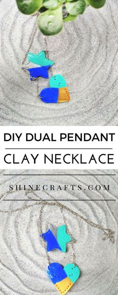 DIY Dual Pendant Clay Necklace - You'll learn how to make dual pendant air dry clay necklace easily!! And this DIY is one of those projects that doesn't require much skills or efforts.