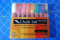 "Craft Product Review: Chalk Ink ""Wet Wipe"" Markers @ http://www.crafttestdummies.com/craft-product-reviews/craft-product-review-chalk-ink-wet-wipe-markers/  Got Good Reviews, even on chalkboard paint, but they are expensive  - around $27.00"