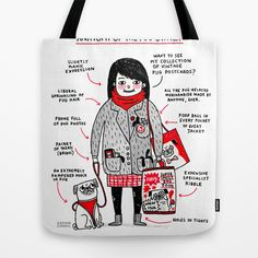 Anatomy of the Pug Owner Tote Bag by gemma correll - $22.00