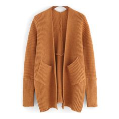 SheIn(sheinside) Khaki Long Sleeve Pockets Knit Cardigan (110 MYR) ❤ liked on Polyvore featuring tops, cardigans, khaki, brown cardigan, loose fitting tops, khaki cardigan, cocoon cardigan and loose long sleeve tops