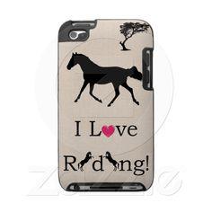 Cute I Love Riding Equestrian iPod Speck Case  Cute horse iPod case with the saying I Love Riding! . Every equestrian rider will appreciate and love this iPod cover!