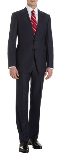 Armani Collezioni Peak Lapel Navy Narrow Stripe Two-Piece Suit Suits For Women, Mens Suits, Striped Two Piece, Brand Name Clothing, Future Clothes, Dapper Men, Men's Wardrobe, Queen, Classic Looks
