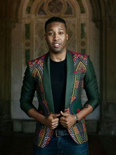 kitenge designs Rock this African print dashiki jacket on any casual or semi-formal occasion. The slim fit cut gives you a clean and sleek look.The available colors are yellow, green, African Clothing For Men, African Shirts, African Print Fashion, Fashion Prints, Ankara Fashion, African Attire, African Wear, African Dress, African Fabric