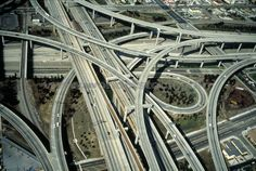 Stock Photo titled: Aerial View Of Harbor Freeway Interchange Los Angeles California, unlicensed use prohibited