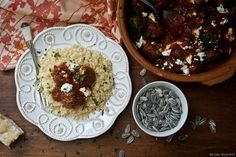 Meatballs and goat cheese with couscous.