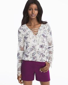 Long-Sleeve Lace-Up Floral Print Top