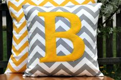 Monogrammed Grey Chevron Pillow Cover Yellow by nest2impress