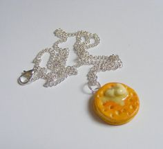 Food Jewelry Crumpet with Butter Necklace Miniature by NeatEats