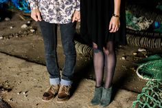 Hipster couple holding hands, shoes in abandoned fishing warehouse | NJ Wedding Photographer | Elyse Jankowski Photography