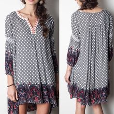 Arriving SoonBohemian Babydoll Dress This bohemian mixed print babydoll dress has a loose fit and three-quarter sleeves. Dress has soft material and loose fit. Sizes: Small, Medium, Large Comment below with size & I will create a separate listing for you to purchase. Arrives Friday Dresses