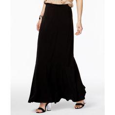 Eci Ruffled Maxi Skirt ($40) ❤ liked on Polyvore featuring skirts, black, flounce skirt, ruffle maxi skirt, frilled skirt, floor length skirt and a line maxi skirt