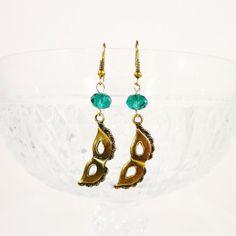 Bronze Mask Earrings Teal Crystal Earrings by BusyBeeBeadedJewelry, $4.95