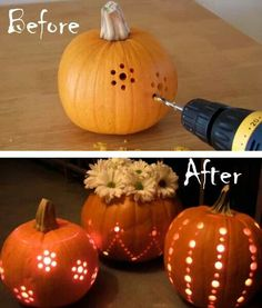 Pumpkin lights Pumpkin Carving With Drill, Carving Pumpkins, Pumpkin Carvings, Simple Pumpkin Carving Ideas, Easy Pumpkin Carving Patterns, Fall Pumpkins, White Pumpkins, Painted Pumpkins, Pumpkin Drilling