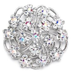 Pugster Elegant Clear White Crystal Flower Weddinges Brooches And Pins Pugster. $40.39. Occasion: casual wear,anniversary, bridal, cocktail party, wedding. Money-back Satisfaction Guarantee.. One free elegant cushioned Gift box available with every order from Pugster.. Exquisitely detailed designer style with Swarovski cystal element.. Can be pinned on your gown or fastened in your hair with bobby pins.