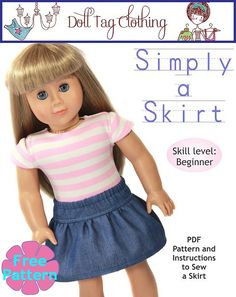 FREE Skirt pattern for Beginners for American Girl dolls - LIKE the PixieFaire Facebook page to download - https://www.facebook.com/PixieFaire