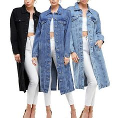 It may have a trenchcoat or duster coat look but the lightweight cotton material will not weigh you down. It can easily be worn all year long comfortably. Stylish oversized design in a longline maxi length. Denim Outfit, Shirt Outfit, Denim Fashion, Girl Fashion, Long Denim Shirt, Maxi Coat, Denim Cotton, Jean, Maxis