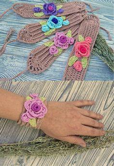 Crochet bracelet, boho bracelet, roses bracelet, cotton bracelet, wrap bracelet,  braided bracelet, rustic jewelry, boho knitted jewelry
