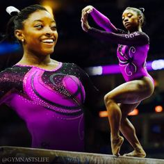 Simone Biles I love her powerful tumbling, sharp skills, is a phenomenal world athlete and of course her beautiful smile! :)