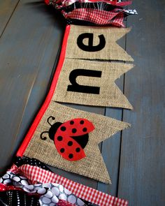 ONE Ladybug Black & Red Highchair Burlap by MsRogersNeighborhood